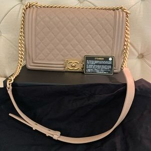 Chanel beige boy flap bag large